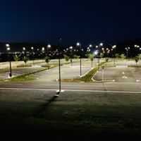 Pohe Island Carpark all lit up at night