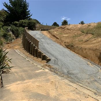 Retaining wall driveway works on the Tutukaka Coast