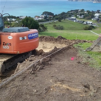 Exacation for house site looking over Langs Beach