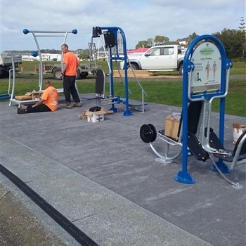 Hatea Loop Exercise Station - Prep lay concrete pad installation of exercise stations